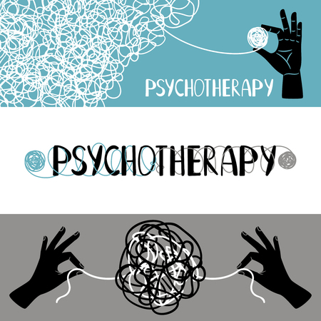 Psychotherapy concept banners set, with human hands untangling thrads, vector illustration Stock Photo