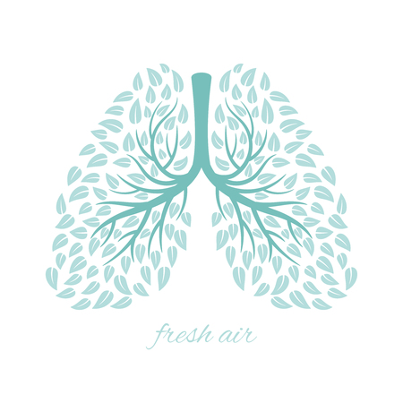 Lungs with foliage. Healthy ecological lungs with leaves anti tuberculosis concept vector illustration