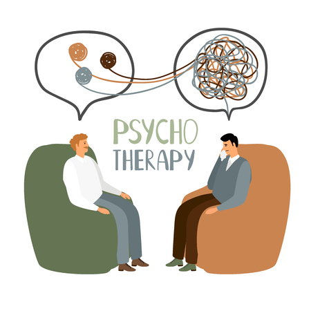 Psychotherapy treatment, doctor and patient sitting and talking, vector concept illustration