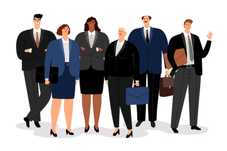 Business man and women in formal clothes, vector illustration Banco de Imagens