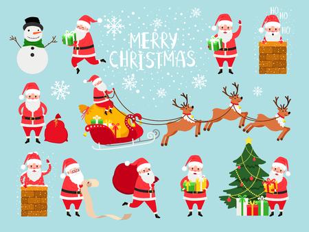 Funny vector santa. Cute vector santa claus grandfather for christmas website decor, santaclause isolated on blue background