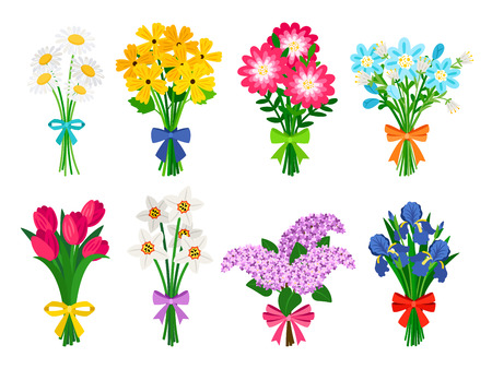 Fresh flowers bouquets. Summer bouquet set isolated, woman flowers gift, tulips and daisies, lilacs and daffodils spring bunches vector illustration Illustration