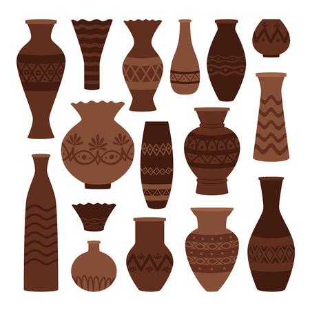 Pots d'argile grecs. Ensemble de vase antique isolé sur fond blanc, ancienne urne ancienne et amphore, jarre et cruche illustration vectorielle Vecteurs