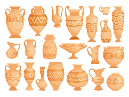 Greek vases. Ancient decorative pots isolated on white background, old antique clay greece pottery ceramic bowls vector illustration Illustration