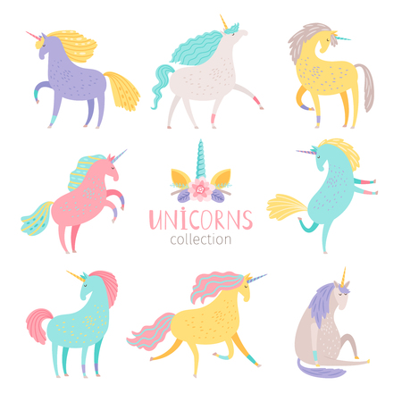 Fairytale unicorn set. Rainbow color girlish pony unicorns isolated on white background vector illustration