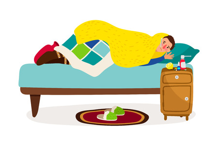 Sick man in bed. Vector cold fever ill character with sickness infectious disease, flu person at home with measuring thermometer on white background