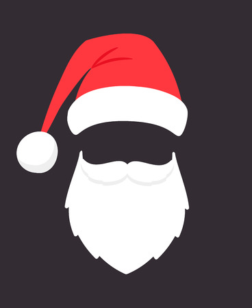 Santa claus mask. Christmas santaclaus party fashion photo face with beard, mustache and hat, holiday sinterklaas head template isolated on black background
