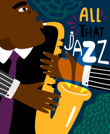 Jazz poster. Clubbing sax music placard contemporary style, saxophonist african jazz man club modern flyer for blues instruments night vector illustration