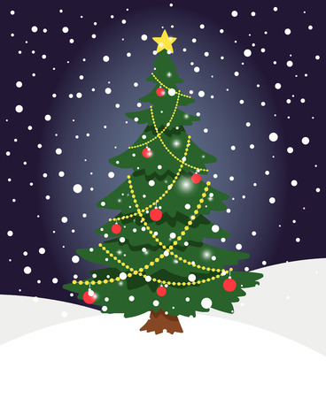 Snow xmas tree. Winter evergreen christmas tree pine with spruce lights and star decoration on holiday night background
