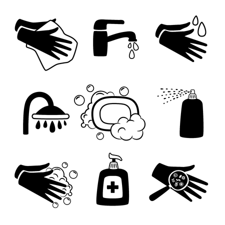 Hygiene black icons. Antiseptic cream and hands washing, antibacterial soap and personal towel silhouette icon set on white 矢量图像