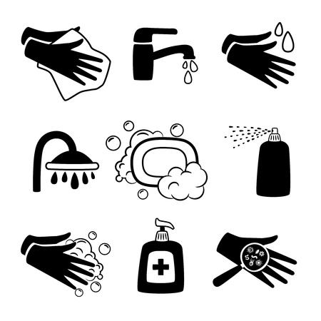 Icônes noires d'hygiène. Crème antiseptique et lavage des mains, savon antibactérien et icône de silhouette de serviette personnelle sur blanc