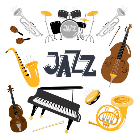 Jazz musical instruments. Vector music instrument objects collection isolated on white, drums and tuba, vintage brass, acoustic violin orchestra  イラスト・ベクター素材