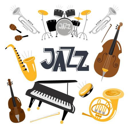 Jazz-Musikinstrumente. Vektormusikinstrument-Objektsammlung einzeln auf Weiß, Schlagzeug und Tuba, Vintage-Bläser, akustisches Violinorchester