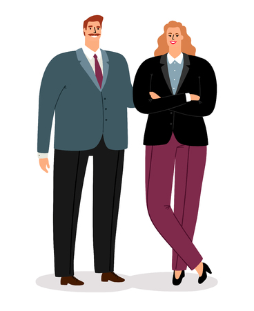 Business couple, man and woman avatars isolated on white background, vector illustration