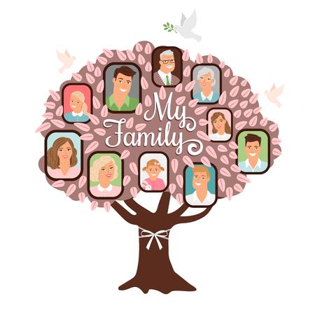Icona di doodle del fumetto dell'albero genealogico con foto di famiglia in colore rosa, illustrazione vettoriale