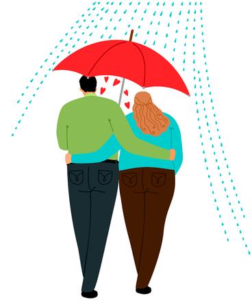 Couple in love walking under one umbrella, vector illustration