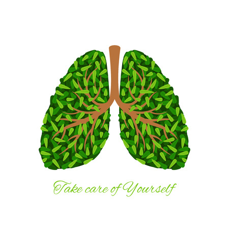 Green lungs, tree branches and leaves human lungs vector icon on white background
