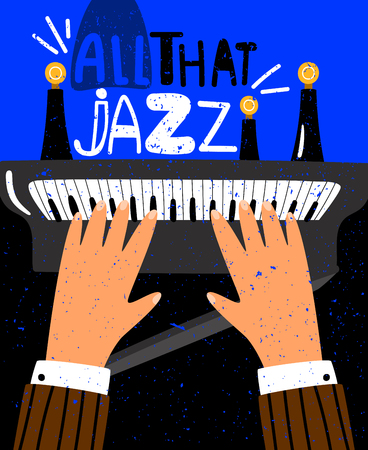 Jazz vector concept poster with piano keyboard and human hands