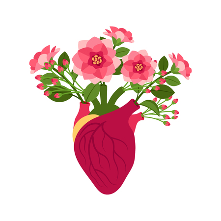 Anatomical pink doodle heart icon with flowers. Flourish hart vector illustration isolated on white background