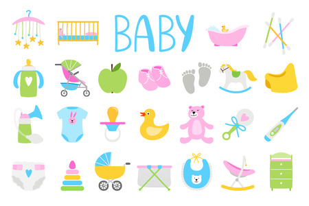Vector babies icons. Cartoon baby icon set, baby shower vector illustration and newborn family accessories