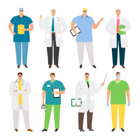 Doctors characters. Young and old medical professionals, cartoon healthcare people, nursing staff. Doctor, uniform medic and physician, vector illustration  イラスト・ベクター素材