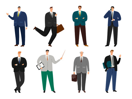 Office cheerful man. Businessmen full body avatars vector illustration, smiling cartoon positive business human isolated on white background