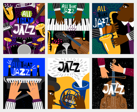 Jazz banners. Jazz music vector posters with musical instruments like saxophone and piano, double bass and drums for blues festival Illustration