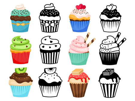 Cupcake set vector illustration. Colorful and silhouettes sweet cakes  イラスト・ベクター素材