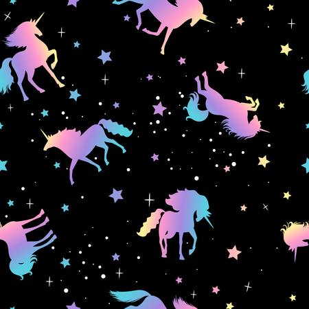 Unicorn and star silhouettes colorful pattern, vector illustration  イラスト・ベクター素材