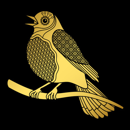 Singing doodle gold bird on black background, vector illustration