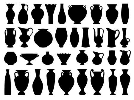 Vasi greci vintage silhouette nera su sfondo bianco, illustrazione vettoriale Vettoriali