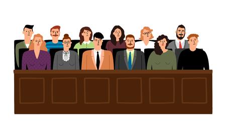Giuria nell'illustrazione di vettore del processo giudiziario. Persone nel processo di giudizio, sedute nella casella della giuria, isolate su sfondo bianco