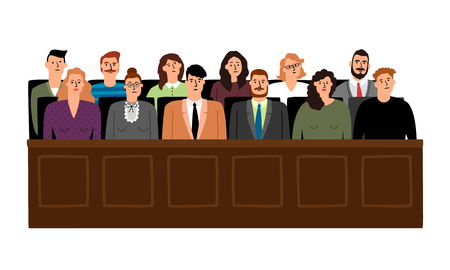 Jury in court trial vector illustration. People in judging process, sittingin jury box, isolated on white background Vettoriali