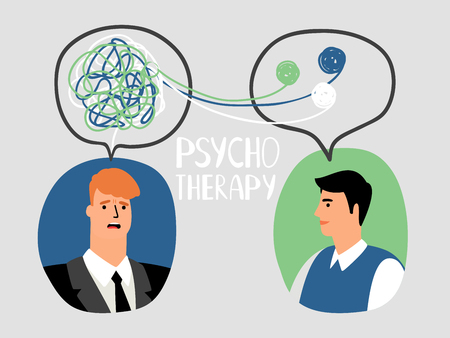 Psychotherapy concept illustration with male doctor and parient avatars, vector illustration