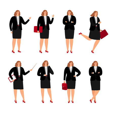 Businesswoman poses. Standing plussize business woman person in corporate skirt, cartoon female office lady