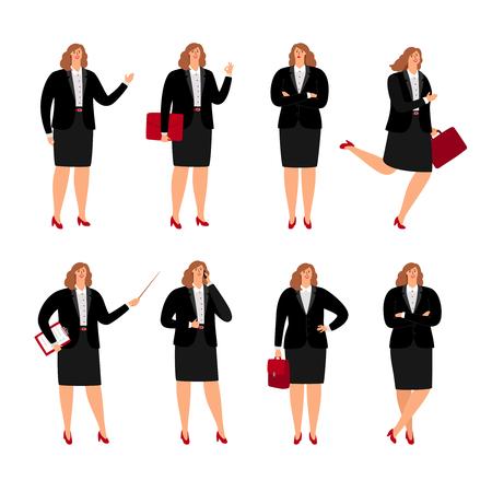 Pozy interesu. Stojąca kobieta biznesu plussize w korporacyjnej spódnicy, kobieta z kreskówek biurowa