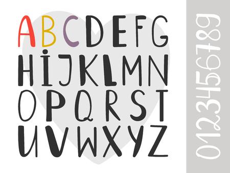 Handdrawn alphabet. Artistic hand written font, dura vector handwrite letters, handwriting graphic type symbols Ilustração Vetorial