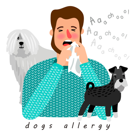 Dogs allergy desease poster, man with running nose, vector illustration