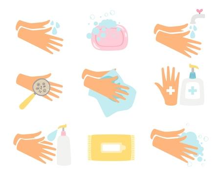 Igiene delle mani. Illustrazione vettoriale di lavaggio delle mani, mani piatte infette, lavate con acqua e igieniche isolate su sfondo bianco