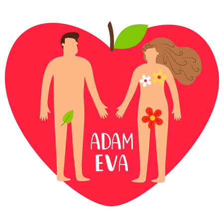 Adam and eve. Bible genesis vector illustration with naked woman, man and heart apple isolated on white. Apple and bible story