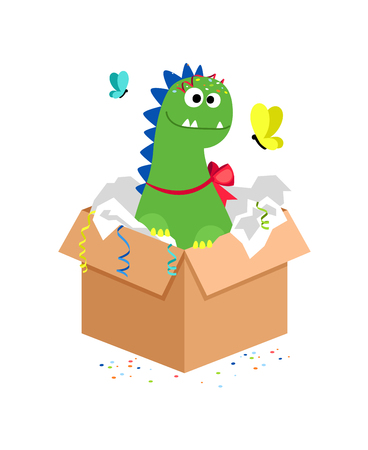 Happy dino in carton box. Kids toy gift. Dinosaur toy animal for play. Vector illustration
