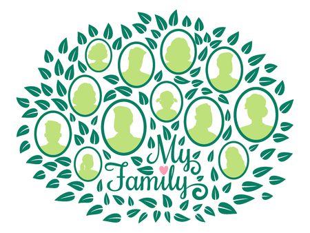 Genealogical family tree, my family green foliage vector illustration isolated on white background. Tree generation branch, genealogical history