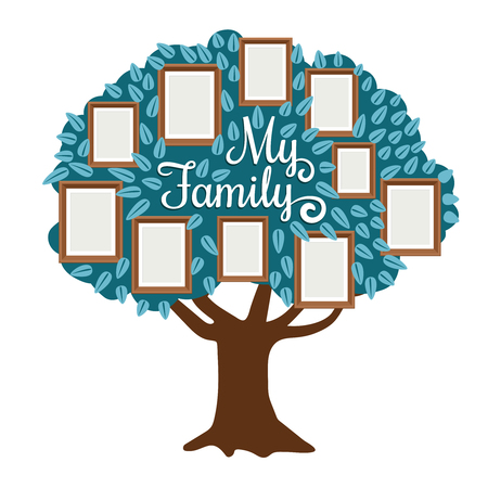 Family Tree with photo frame isolated on white. Vectoir family togetherness community, genealogy frame with photo illustration