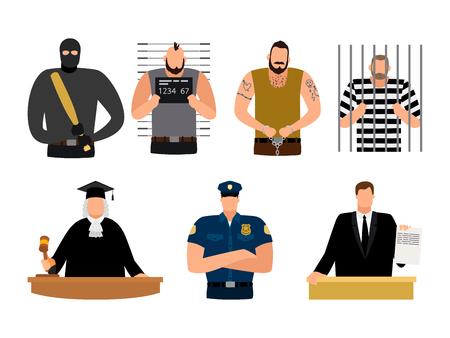 Justice people, prisoner and defendant, policeman, judge and lawyer. Vector murderer and prosecutor illustration Vektorové ilustrace