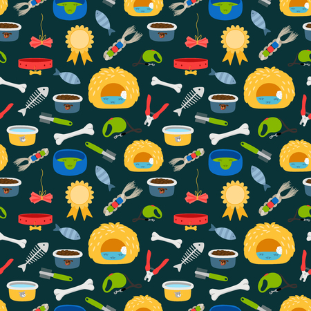 Vector pets accessories colorful seamless pattern. Dogs and cats food, beds, toys texture. Illustration of dog accessory, kennel and comb Illustration