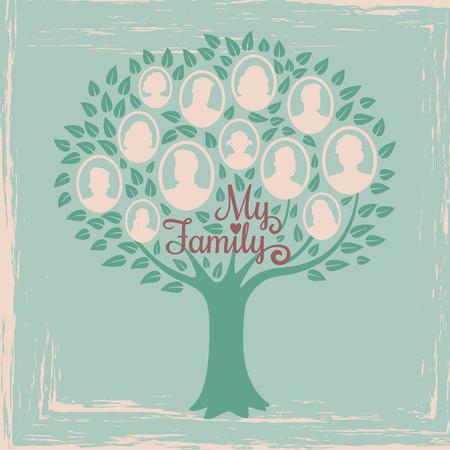 Vintage genealogy tree. Genealogical family tree vector illustration. Genealogical history, family tree togetherness Illustration