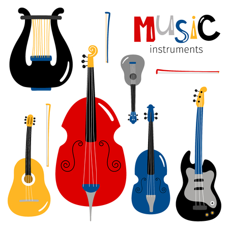 Vector stringed musical instruments icons isolated on white background. Illustration of guitar and double-bass cartoon style Illustration