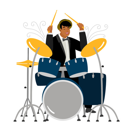 Jazz drummer playing isolated on white background. Vector jazz musician illustration
