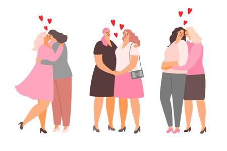Female lesbian couples hug and kiss. Homosexuality of female, homosexual love lesbian, vector illustration
