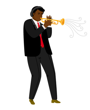 Jazz trumpeter playing on concert isolated on white. Jazz trumpeter african, musician man. Vector illustration